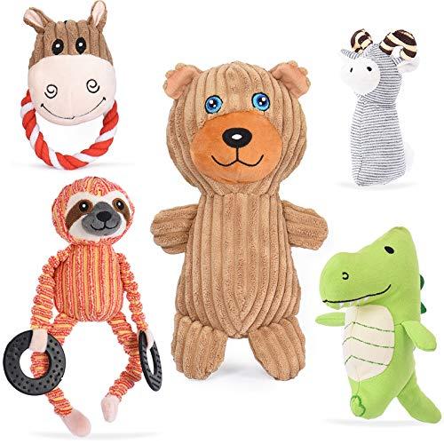 VIEWLON Hundespielzeug Hund Plüschspielzeug Quietschendes - 5 Stücke Hundespielzeugset, Langlebiges Kauspielzeug Set, Interaktives Zahntraining Spielzeug für Kleine und Mittlere Welpenhunde