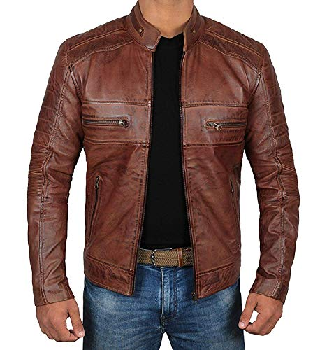 Decrum Moto Leather Jacket Men - Brown Quilted Mens Leather Jackets | [1100064] Austin Brown, L