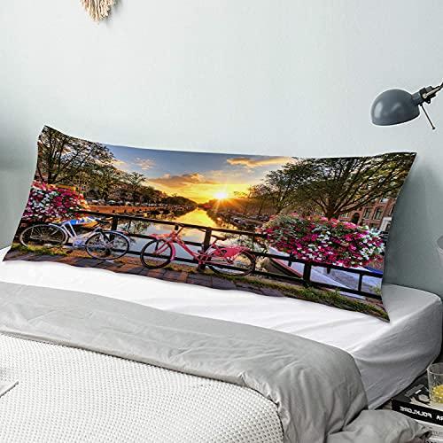 Funda de Almohada para el Cuerpo,Atardecer Pequeña Ciudad Puente Río Flor Bici,Funda de Almohada Larga y Transpirable con Cremallera para sofá de Dormitorio,sofá de 20'x54'