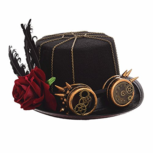 BLESSUME Black Steampunk Hat with Goggles Unisex Fancy Dress Top Hat (M, Color C) steampunk buy now online