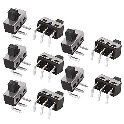 LNIEGE SPDT Micro Interruptor Deslizante del conmutador de posición de alimentación de Enclavamiento (10PCS)