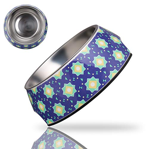 Anubis Bastet Dog Bowls with Non-Skid Silicone Base,Removealbe Stainless Steel Pet Bowls,No Spill Food and Water Dog Bowl for Small,Medium,Large Dogs and Cats 6.3 Fl Oz (Kaleidoscope Pattern)