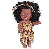 FLLKIHH Realista Reborn Doll Toy Black Girl Doll African American Baby Play Dolls con Pelo Rizado 12 Pulgadas Regalo De Cumpleaños para Niños/Regalo del Día De Los Niños,A