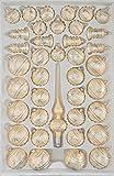 39 TLG. Glas-Weihnachtskugeln Set in Ice Champagner Silber Komet - Christbaumkugeln - Weihnachtsschmuck-Christbaumschmuck