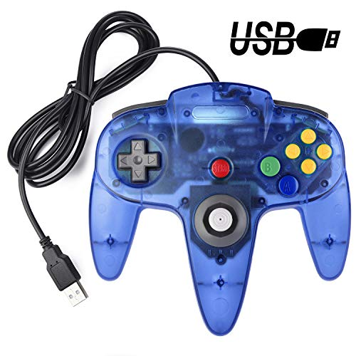 Classic USB Controller für N64 Gaming, miadore USB Retro N64 Gamepad Joystick Joypad für Windows PC Mac Linux Raspberry Pi 3 (Clear Blue)