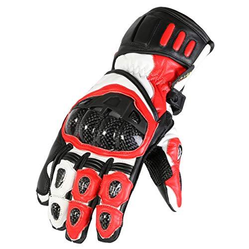 Texpeed Guanti in pelle per motociclismo - protettivi - rossi e neri - M - 8cm - 8.5cm