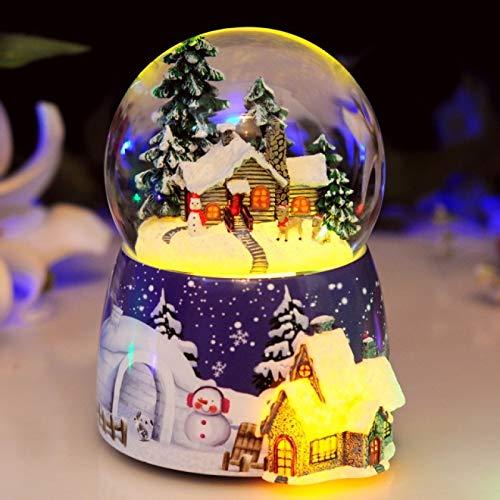 IADZ Caja de música, bola de cristal de copo de nieve flotante caja de música amigos decoración de escritorio