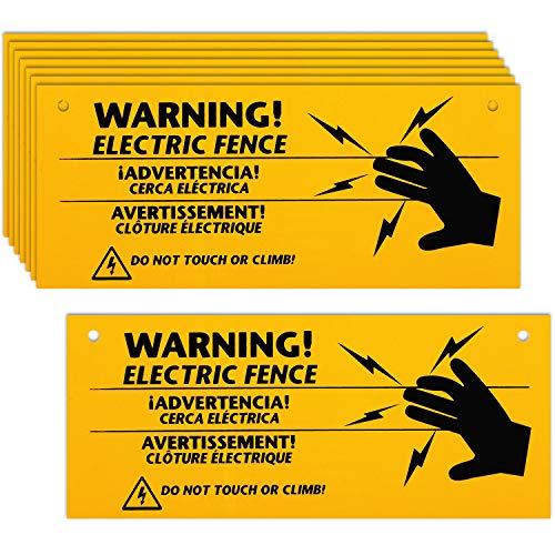 8 Stück Elektrozaun Warnschilder 25,4 x 10,2 cm Kunststoff Elektrozaun Safe Schilder Warnschild für Gefahr Elektrozaun Schild Farm Zuhause