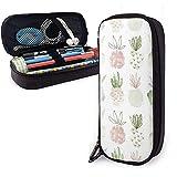 Vert Mignon Ananas PU En Cuir Pochette Sacs De Rangement Portable Étudiant Crayon Papeterie Sac Multi-Fonction Sac