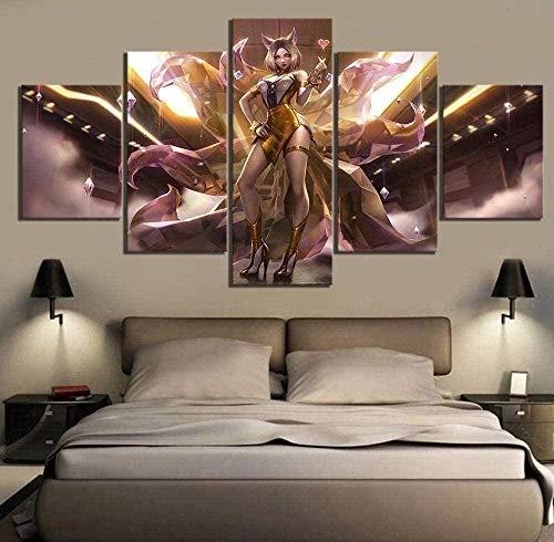 5 paneles de arte de pared Nine Tailed Fox Ahri League of Legends Game Print en lienzo La imagen para el hogar Pieza moderna estirada por marco de madera