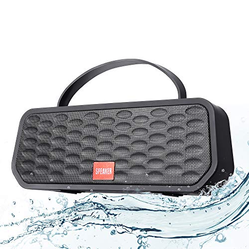 Enceinte Bluetooth Portable, HD Stéréo TWS Haut-Parleur Bluetooth sans Fil, 5800mAh Charge 30 Heures Playtime Pilote Double, Enceinte Bluetooth Waterproof IPX6 Mains Libres et Support Radio FM, USB TF