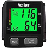WrisTech Color Coded Wrist Blood Pressure Monitor - Black – w/Color Indicator and Automatic Display