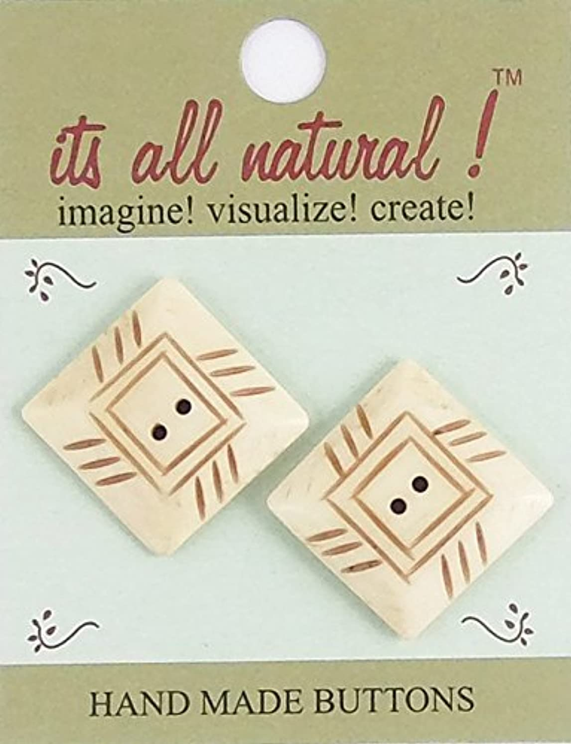 Handmade Natural Bone Buttons - Sewing Quilting Knitting Crochet Renaissance Dance Hawaiian Bridal Costumes Outfit Drapery Home Decor- Antique Ivory - 26x26mm - Pyramid Shape - 2 pcs/pk. #1955