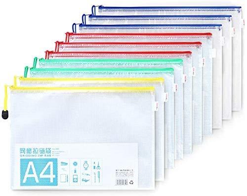 Plastic Wallets A4,10 stuks A4 zip-lock tassen Document Wallet Document mappen Plastic zakken met ritssluiting for School Office Homework Travel Opbergzakken file rack (Color : A01)