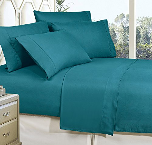 Celine Linen Best, Softest, Coziest Bed Sheets Ever! 1800 Thread Count Egyptian Quality Wrinkle-Resistant 4-Piece Sheet Set with Deep Pockets 100% , King Turqouise