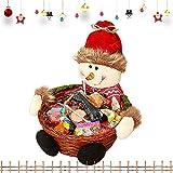 CHEPL Cestino Natalizio per Caramelle Natale Cesto Portaoggetti con Bambole Peluche Cestini Portaoggetti Caramelle per Decorazioni, Pupazzo di Neve in Tessuto a Mano