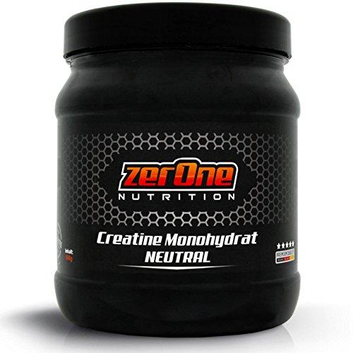 ZerOne Nutrition Hochdosiertes Pulver | Made in Germany | Vegan | Kristallines Pulver für Ausdauer Muskelwachstum | 500g (Creatine)