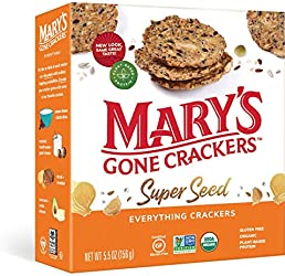 Mary's Gone Crackers Super Seed Crackers, Organic Plant Based Protein, Gluten Free, Everything, 5.5
