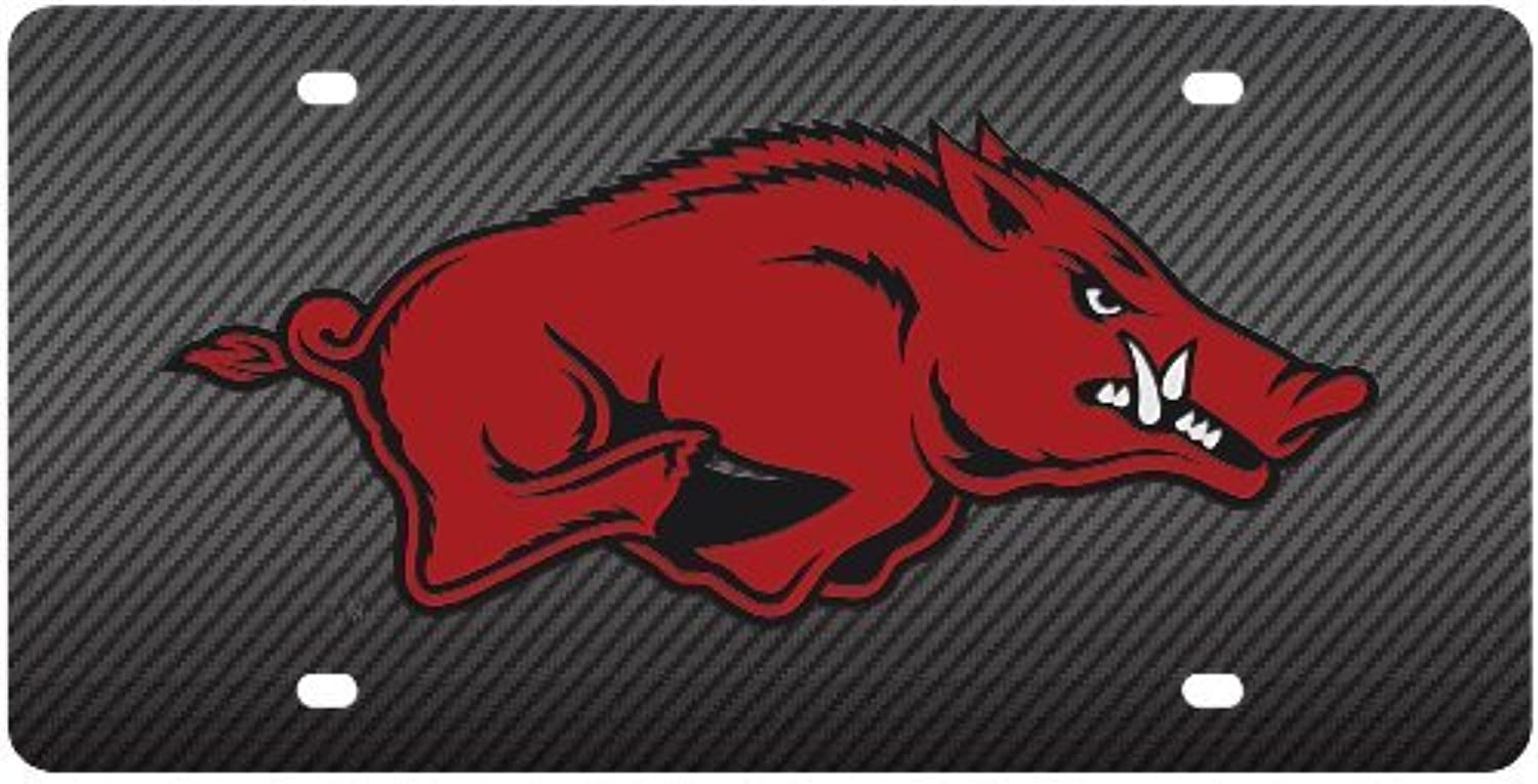 University of Arkansas Razorbacks Carbon Fiber Looking Acrylic Inlaid License Plate by Stockdale-CarBeyondStore