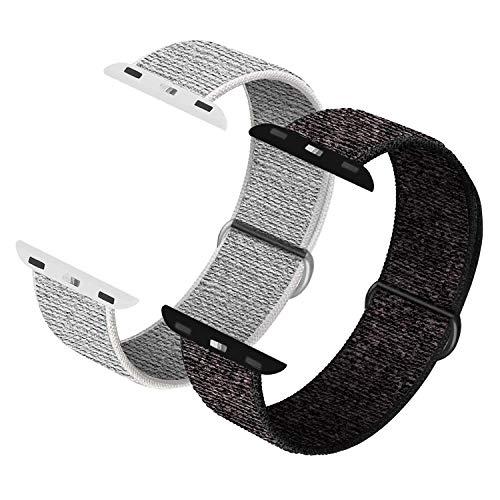 JONWIN Correa para Apple Watch 38mm 40mm, Soft Sport Loop, Reemplazo de Correa para iWatch Series 6, Series 5, Series 4, Series 3, Series 2, Series 1,N+ Black&Summit White