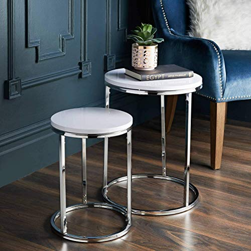 Stunning Elegant Design Norsk Set of 2 Tables wonderful feature White High Gloss Top Round With Chrome Legs bedside coffee perfect for Living Room best for Decoration Space Saving table