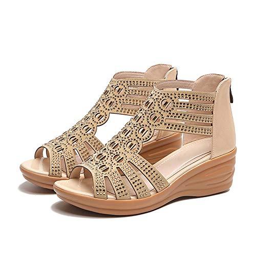 FAYHRH Zapatillas de casa de Verano Sandalias,Sandalias de Verano, cuñas de Mediana Edad, Zapatos de la Madre Espesa de Las Mujeres-Blanco Crema_39