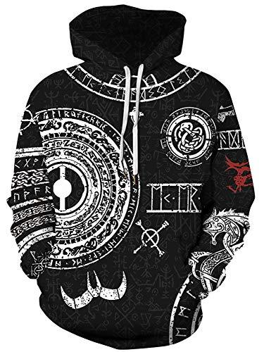 JooMeryer Men's Viking Totem 3D Print Long Sleeve Hoodies Pullover Sweatshirt,Norse Mythology,L