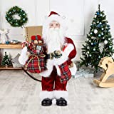 Uten 12' Santa Claus, Christmas Figurine Figure Decor with Christmas Sock and Gifts Bag for Holiday Party Home Decoration