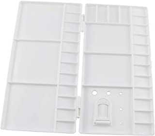 E-outstanding Painting Palette Box Artist Professional Plastic White Watercolor Folding Case Paint Tray with 33 Wells, Thu...