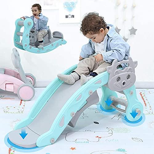 Zjeżdżalnia dla dzieci na biegunach, wielofunkcyjny lekki i mocny przenośny bujak do wspinaczki dla dzieci, jazda i zjeżdżalnia, panel do nauki do wewnątrz i na zewnątrz (Color : Blue)