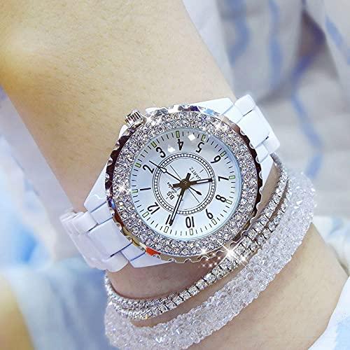 Vibner Damenuhr Luxus Kristall Armbanduhren Frauen Weiß Keramik Damenuhr Quarz Mode Frauen Uhren Damen Armbanduhren Für Weibliches Weiß