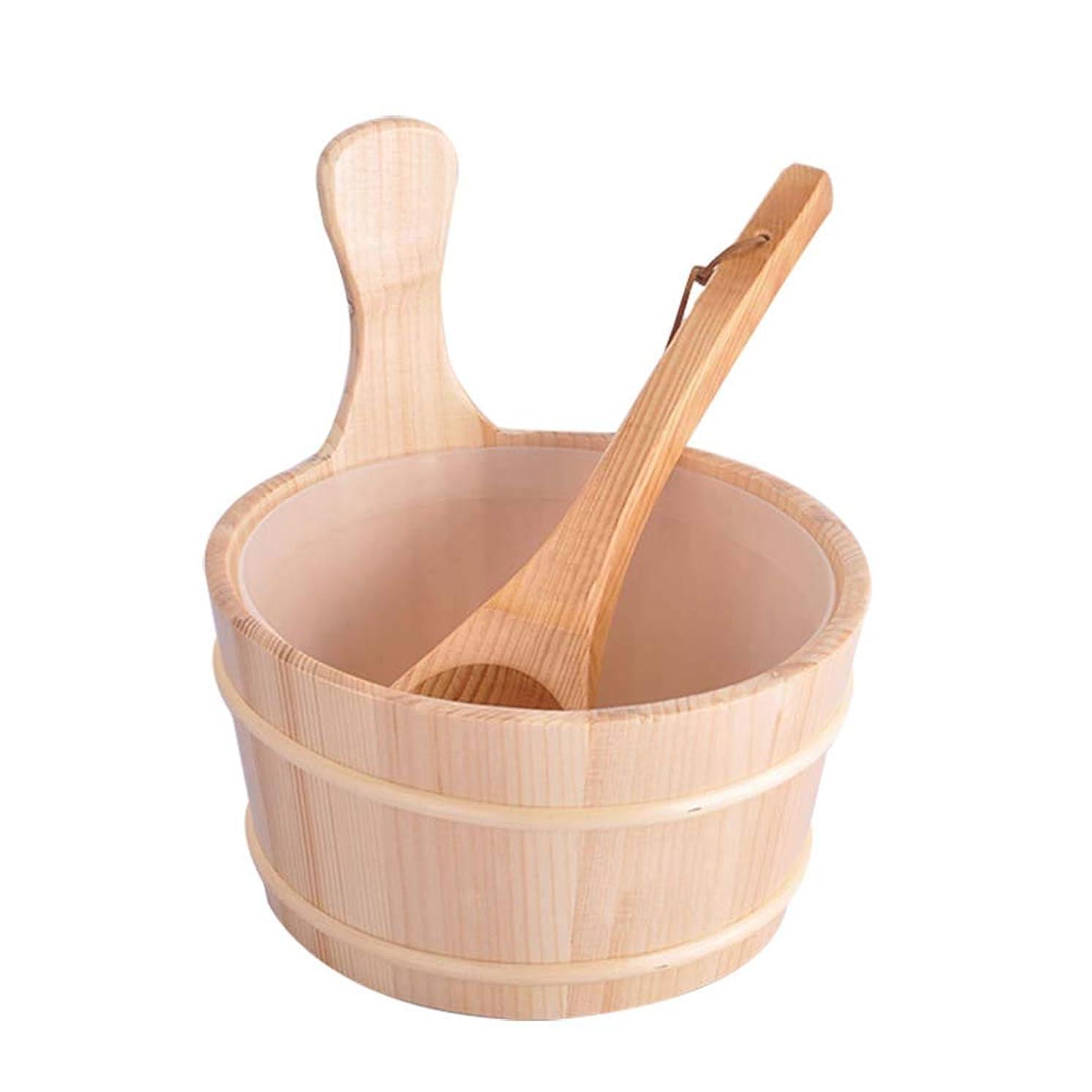 サバント調子ペイントHealifty 2個入りサウナ木製バケツとひしゃくキットサウナとサウナルーム用のライナー付きスパバケット(ニュートラルスタイル)