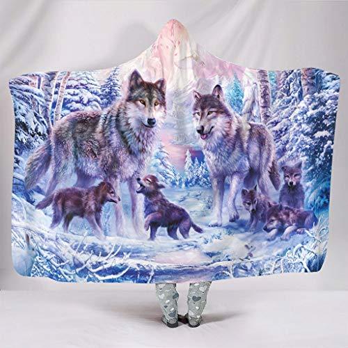 Wandlovers Fantasía Wolf familia invierno bosque impresión super suave con capucha invierno capa de peluche blanco 150 x 200 cm