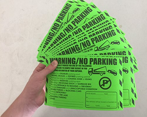 """Parking Violation Stickers for Cars (Fluorescent Green) - 100 Illegal Warning Reserved, Handicapped, Private Parking and More/No Parking Hard to Remove and Super Sticky Tow Warnings 8"""" x 5"""" by MESS Photo #3"""