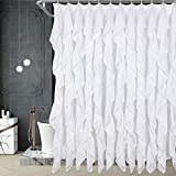 HIG Handmade Ruffle Shower Curtain Great for Showers & Bathtubs - Quick Drying - 12 Buttonholes Design - Easy to Install - Fade Resistant and Opaque(Aubrey-White, 72' L x 72' W)