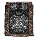 Hanebar Laickter Juego de cama de 4 piezas Viking Odin And His Wolf Funny Warm Design - Sábanas blancas de 175 x 218 cm