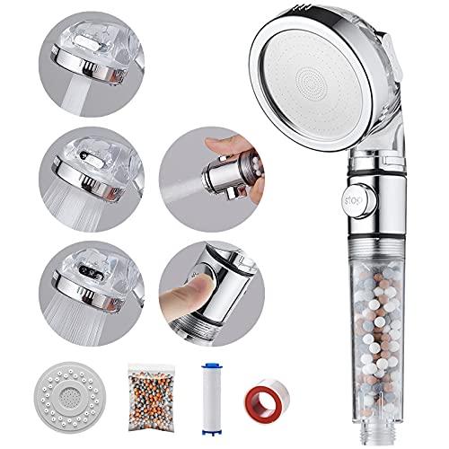 MIAOHUI Öko Filter Duschkopf mit lonenfilter & Kalkfilter, 3 Modi Druckerhöhung Handbrause Wassersparend, Duschkopf mit Filter Ausgestattet mit PP-Baumwolle, Packung Filterkugeln, Panel