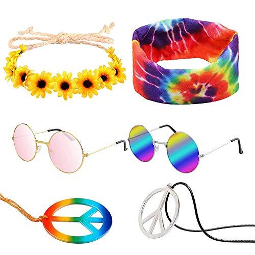 WATINC 7 Stück Halloween Hippie Kostüm Set Retro Runde rosa Sonnenbrillen Regenbogen Frieden Zeichen Halskette Sonnenblumen Blumen Kopfband Dye Stirnband Hipppy Ankleiden für 60 70er Jahre Thema Party