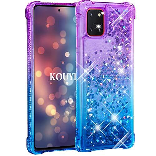 KOUYI Kompatibel mit Galaxy A81 Hülle, [Quicksand-Serie] Fließen Flüssig Glitzer Mode Silikon Weich Flexible TPU Bumper Schutzülle Etui Cover für Samsung Galaxy A81 (Blau Lila)