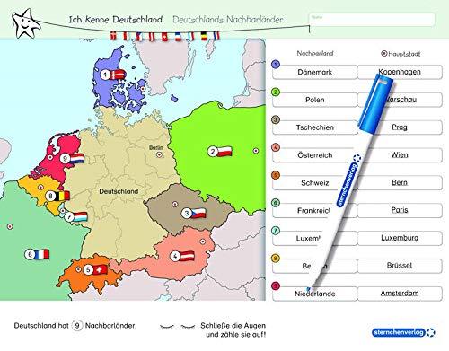Ich kenne Deutschland - Deutschlands Nachbarländer - Lerntafel mit Stift: Stabile, wiederbeschreibbare Lernvorlage im großen Format