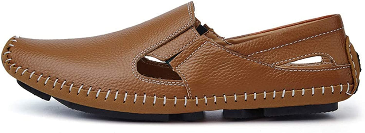 ZHRUI Men's Sandals Casual Leather Driving shoes Flats Boat shoes Sneakers Slippers (color   Brown, Size   11=46 EU)