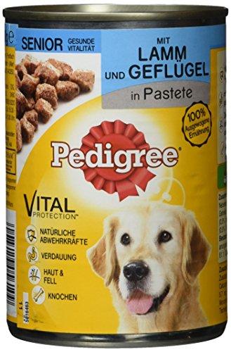 Pedigree Hundefutter Nassfutter Senior Lamm & Geflügel in Pastete, 12 Dosen (12 x 400g)