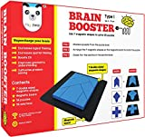Play Panda Brain Booster Type 1 (Junior) - 56 Puzzles Designed to Boost Intelligence - with Magnetic Shapes, Magnetic Board, Puzzle Book and Solution Book