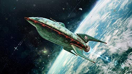 GTZXHNM Pintura por Números para Adultos y niños Pintar DIY al óleo de Bricolajecon Marco Arte Digital Espacio Universo Nave Espacial Cohete Planeta Tierra Futurama 3D Vintage Obra de Arte Satelli