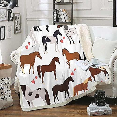 Bedbay Pferdedecke für Kinder, Sherpa-Überwurf, hübsche Ponies, Tiere, Kavallerie, Cowgirl, Cowboy, Plüsch, flauschige Decke für Bett, Couch, Büro (Pferd, Zwilling), 152,4 x 203,2 cm