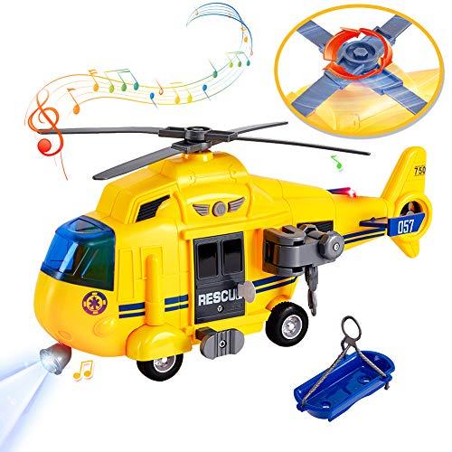 HERSITY Flugzeug Spielzeug Groß mit Licht und Sound Helikopter Kinderspielzeug Hubschrauber mit Bewegliche Rotoren Geschenk für Kinder Junge, 1:16 Gelb
