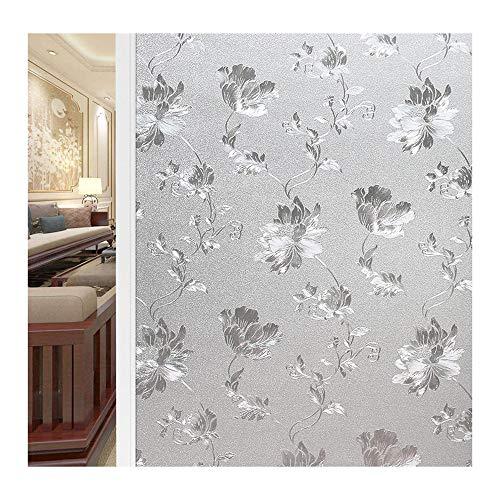 Bloeding melkglasfolie raam, zelfklevende decoratieve folie tegen inkijk, raamfolie statische hechting, raamfolie zelfklevend, voor thuis of op kantoor 200×40cm/78×15in helder