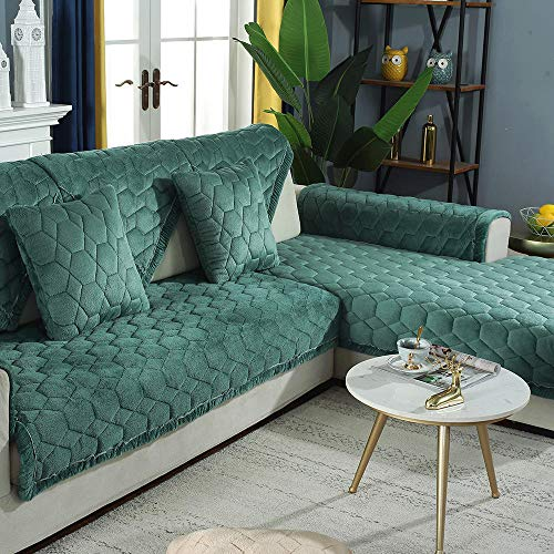 Corner Sofa Slipcover,Living Room Fabric Sofa Seat Covers,Furniture Protector Cover,for 1/2/3/4/5 Seater Sofa,Funda de sofá de Felpa con patrón de Panal-Verde_110×210cm