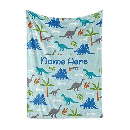 Custom Light Blue Dinosaur Fleece Throw Blanket for Kids - Boys Girls Baby Toddler Infants Blankets for Bed (50x60 Inches)