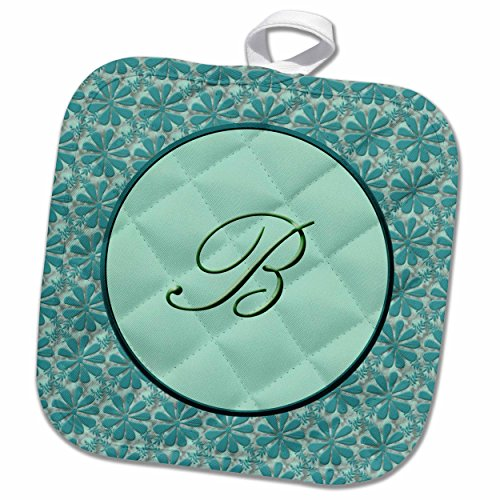 "3D Rose Elegant Letter K in A Round Frame Surrounded by A Floral Pattern All in Teal Green Monotones Pot Holder, 8"" x 8"""